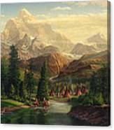 Indian Village Trapper Western Mountain Landscape Oil Painting - Native Americans Americana Stream Canvas Print