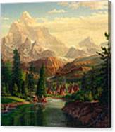 Indian Village Trapper Western Mountain Landscape Oil Painting - Native Americans -square Format Canvas Print