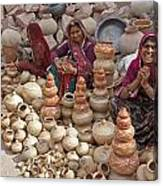 Indian Women Selling Pottery Canvas Print
