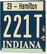 Indiana License Plate Canvas Print