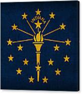 Indiana State Flag Art On Worn Canvas Canvas Print