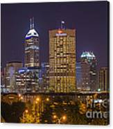Indianapolis Night Skyline Echo Canvas Print