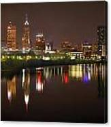 Indianapolis Skyline At Night Indy Downtown Color Panorama Canvas Print