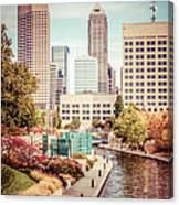 Indianapolis Skyline Old Retro Picture Canvas Print