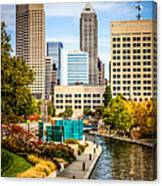 Indianapolis Skyline Picture Of Canal Walk In Autumn Canvas Print