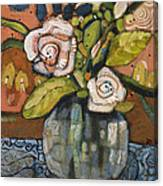 Indigo And Orange Floral Canvas Print