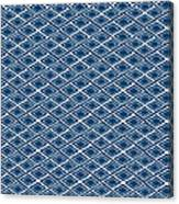 Indigo And White Small Diamonds- Pattern Canvas Print