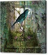 Indoor Garden With Bird Canvas Print