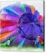 Inflating The Rainbow Hot Air Balloon Photo Art Canvas Print