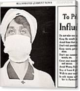 Influenza Prevention, 1918 Pandemic Canvas Print