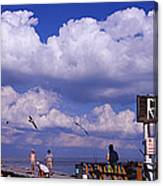 Information Board Of A Pier, Rod Canvas Print
