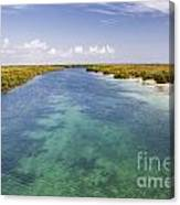 Inlet Leading To Caribbean Ocean Canvas Print