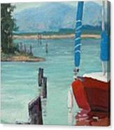 Inlet With Sailboat    Laconner Wa Canvas Print