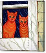Orange Cats Looking Out Window Canvas Print