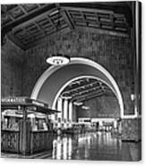 Inside Los Angeles Union Station In Black And White Canvas Print