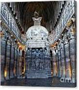 Inside One Of The Ajanta Caves Canvas Print