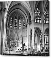 Inside The Cathedral Basilica Of The Immaculate Conception 1 Bw Canvas Print