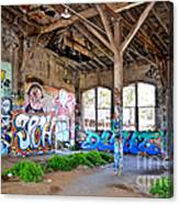 Inside The Old Train Roundhouse At Bayshore Near San Francisco And The Cow Palace II Canvas Print