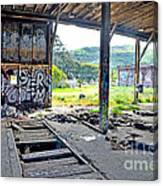 Inside The Old Train Roundhouse At Bayshore Near San Francisco And The Cow Palace Iv Canvas Print