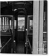 Inside Trolley 28 Black And White Canvas Print