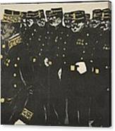 Inspection Of A Line Of Police Canvas Print