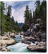 Inspirational Bible Scripture Emerald Flowing River Fine Art Original Photography Canvas Print
