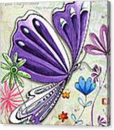 Inspirational Butterfly Flower Art Inspiring Quote Design By Megan Duncanson Canvas Print