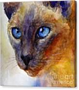Intense Siamese Cat Painting Print 2 Canvas Print