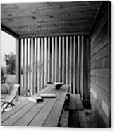 Interior End Of Porch With Vertical Louvers Canvas Print