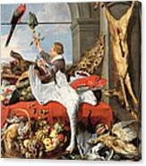Interior Of An Office, Or Still Life With Game, Poultry And Fruit, C.1635 Oil On Canvas Canvas Print