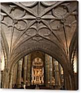 Interior Of Jeronimos Monastery Church In Lisbon Canvas Print