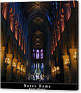 Interior Of Notre Dame De Paris Canvas Print