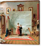 Interior With Portraits Canvas Print