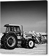 international 5140 tractor with front end loader on frozen field Forget Saskatchewan Canada Canvas Print