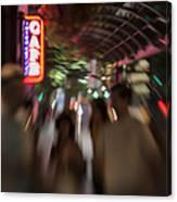 International Cafe Neon Sign And Street Scene At Night Santa Monica Ca Landscape Canvas Print