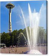 International Fountain And Space Needle Canvas Print