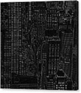 Into Nyc White On Black Canvas Print