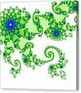 Intricate Green Blue Fractal Based On Julia Set Canvas Print
