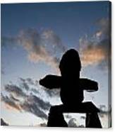 Inukshuk Silhouette Sunset Canvas Print