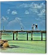 Investigating At Rod And Reel Pier Canvas Print