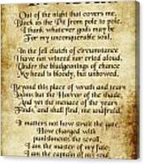 Invictus - Old Parchment Design Canvas Print