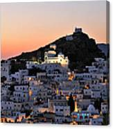 Ios Town During Sunset Canvas Print