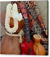 Ipu Heke And Red Ukulele With White Satin Lei Canvas Print