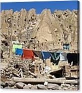 Iran Kandovan Stone Village Laundry Canvas Print