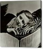 Irene Dunne Lying Down On A Zebra Print Pillow Canvas Print