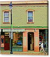 Irenes's Pub And Ernesto's Barber Shop Bank St Shops In The Glebe Paintings Of Ottawa Cspandau  Canvas Print