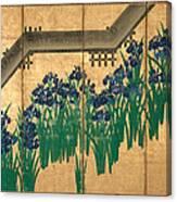Irises At Yatsuhashi. Eight Bridges Canvas Print