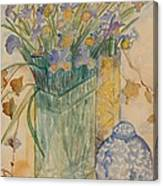 Irises With Chinese Pot Canvas Print