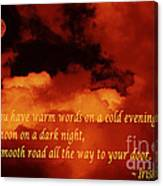 Irish Blessing On Orange Clouds And Full Moon Canvas Print