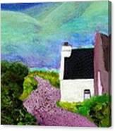 Irish Cottage With Cat Canvas Print
